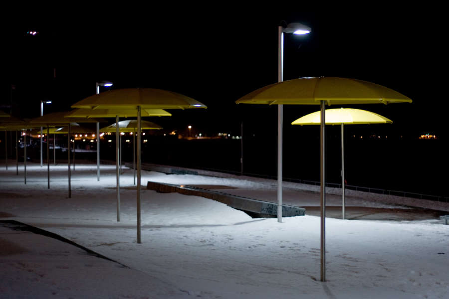 Winter Night Umbrellas